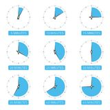 Clock face with different time. The timer icons set on 5, 10, 15, 20, 25, 30, 35, 40 and 45 minutes Time concept Can be used for infographic Vector Stock Photo