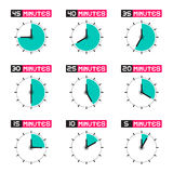 Clock Face with Different Time Vector Illustration Stock Images