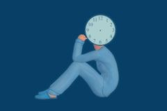Clock Face Dreamer Illustration. A man dreaming in the wee hours Royalty Free Stock Image
