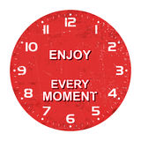 Clock face -enjoy every moment, rusty texture, Vector illustration. Isolated on white background Stock Photography