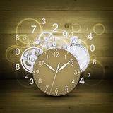 Clock face with figures and white gears Royalty Free Stock Photography