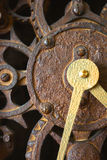 Clock Face Gears. Close up of clock gears with no hands or numbers royalty free stock photos
