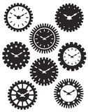 Clock Face in Gears Silhouette Illustration. Time Watch or Clocks in Mechanical Gears Silhouette Outline Illustration stock illustration