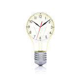 Clock face inside the bulb Stock Photography