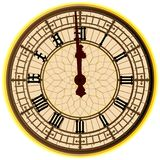 Big Ben Midnight Clock Face. The clock face of the London icon Big Ben showing 12 o clock Royalty Free Stock Images