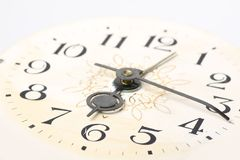 Clock face, macro. Clock face, hands of the clock, macro royalty free stock photos