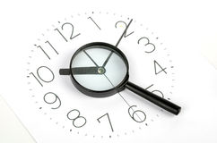 Clock face and magnifier. On white background Stock Photos
