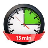 Clock face with 15 minutes timer. 3D rendering. Isolated on white background vector illustration