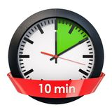 Clock face with 10 minutes timer. 3D rendering. Isolated on white background royalty free illustration