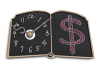 Clock face with money symbol doodles on blackboard Royalty Free Stock Image