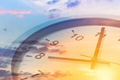 Free Clock Face Overlay With Beautiful Sunrise Sky For Good Times Working Morning A New Day Concept Royalty Free Stock Photo - 209645555