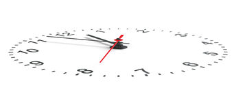 Clock face perspective view. Isolated Royalty Free Stock Photos