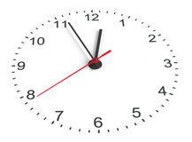 Clock face. Perspective view. Isolated on white background. 3D illustration Royalty Free Stock Photography