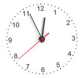 Clock face. Perspective view. Isolated on white background. 3D illustration Royalty Free Stock Images