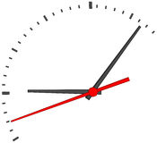 Clock face with red second hand Stock Image