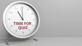 Revealing TIME FOR QUIZ text on the clock face. Conceptual animation