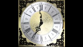 Clock face running backward at speed ornate grandfather time travel stock video