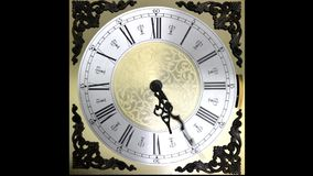 Clock face running forward at speed ornate grandfather timelapse time travel stock footage
