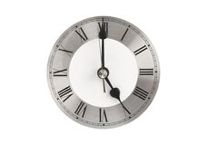 Clock face showing 5 o'clock Stock Image