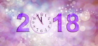Nearly Happy New Year 2018. A clock face showing 11.55 making the 0 of 2018 on a sparkling pink bokeh background Royalty Free Stock Image