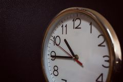 Clock face of silver antique clock, vintage filter royalty free stock photography
