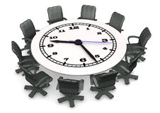 Clock Conference Table Stock Images