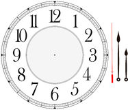 Clock face. Template with hour, minute and second hands to make your own time isolated on white background Royalty Free Stock Photos