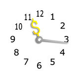 Clock face with USD money sign symbol hands, 3D rendering Royalty Free Stock Photo
