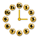 Clock face with volume glass buttons. Stock Photography