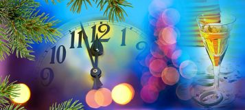 Clock face with wine glass. Before midnight stock photos
