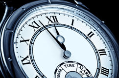 Clock face, wrist watch closeup Royalty Free Stock Photography