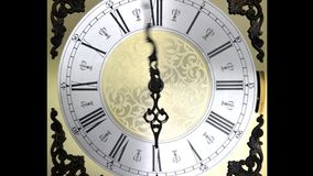 Clock face zoom running backward at speed ornate grandfather time travel stock video footage