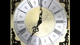 Clock face zoom running at speed ornate grandfather timelapse time travel stock video footage