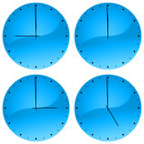 Clock Faces. Illustration of watch showing 9, 12, 3 and 5 o'clock Royalty Free Stock Photography