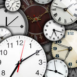 Clock faces. Background of many clock faces Stock Images