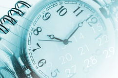 Clock faces, calendars. Stock Photography