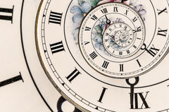 Clock Faces. Swirl Effect on an Ornate Clock Face with Roman Numerals Stock Photos