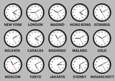 Clock faces with time differences in some world cities Stock Images