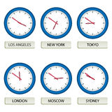Clock faces - timezones Stock Images