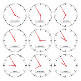 Clock faces - timezones Royalty Free Stock Photo