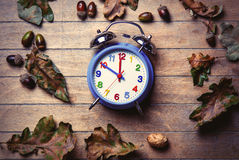 Clock and fallen leaves Royalty Free Stock Photos