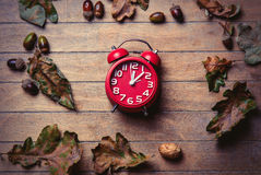 Clock and fallen leaves Stock Photo