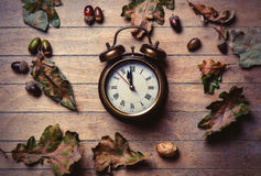 Clock and fallen leaves Royalty Free Stock Image