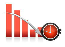 Clock and falling chart illustration Stock Photos