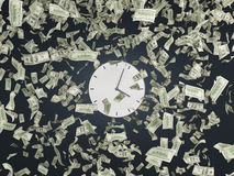 Clock and falling dollars Royalty Free Stock Photos