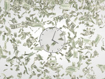 Clock and falling dollars Royalty Free Stock Photo