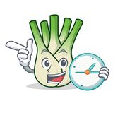 With clock fennel character cartoon style. Vector illustration Stock Photo