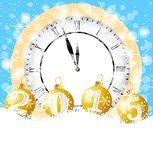 Clock and festive marbles with numbers 2015 lie on to snow. Vector illustration royalty free illustration
