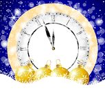 Clock and festive marbles on to snow Stock Images