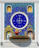 Clock with figure of donkey carrying icon in Yoshkar-Ola Royalty Free Stock Photos